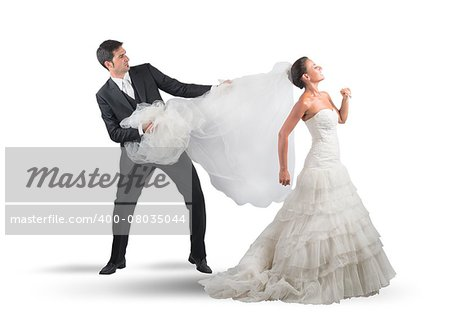 Husband pulls the veil to the bride Stock Photo - Budget Royalty-Free, Image code: 400-08035044