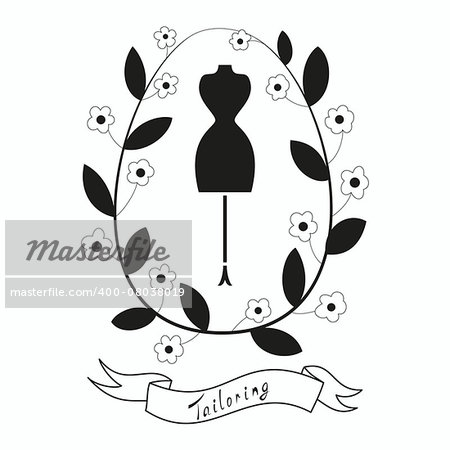 Tailoring emblem with mannequin or dummy. Floral wreath and banner. Fashion and tailoring logo design