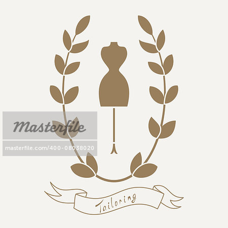 Tailoring emblem with mannequin or dummy. Floral wreath and banner. Fashion and tailoring logo design. Vector