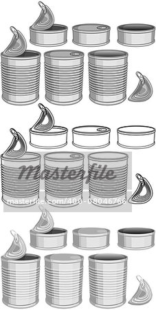 Vector illustration pack of various canned food cans color and lineart. Stock Photo - Budget Royalty-Free, Image code: 400-08046766