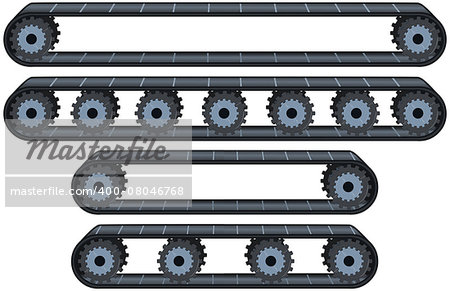 Vector illustration pack of four types of conveyor belt tracks with wheels. Stock Photo - Budget Royalty-Free, Image code: 400-08046768