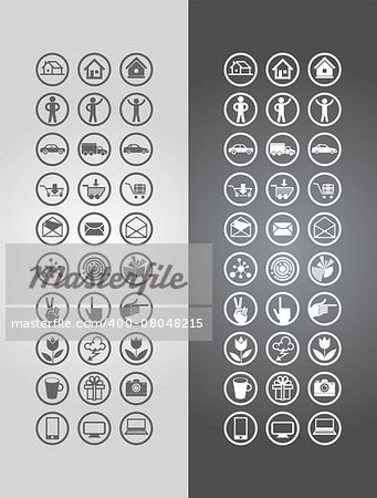 Vector illustration business icons in round frames. Stock Photo - Budget Royalty-Free, Image code: 400-08048215