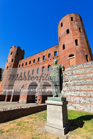 Roman statue of Julius Caesar and ancient ruins of Palatine Towers in Torino, Piemonte, Italy Stock Photo - Budget Royalty-Free, Image code: 400-08049830
