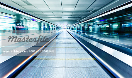 symmetric moving blue escalator inside contemporary airport, hong kong Stock Photo - Budget Royalty-Free, Image code: 400-08050768