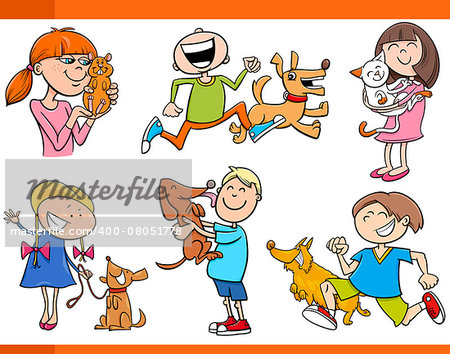Cartoon Illustration of Kids with Pets Characters Set Stock Photo - Budget Royalty-Free, Image code: 400-08051778