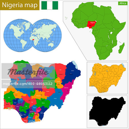 Administrative division of the Federal Republic of Nigeria Stock Photo - Budget Royalty-Free, Image code: 400-08053112