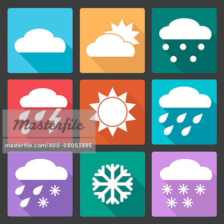 Vector Collection of Weather Icons in colored flat design style Stock Photo - Budget Royalty-Free, Image code: 400-08053885