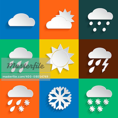 Weather icons in paper style on colored backgrounds. Vector background or separate elements Stock Photo - Budget Royalty-Free, Image code: 400-08054749