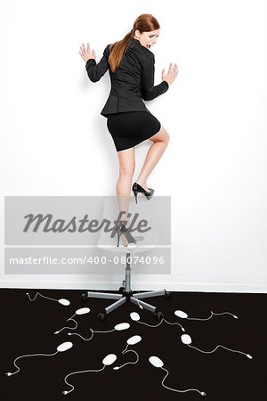 Business concept with a beautiful woman in the office being attacked by mice Stock Photo - Budget Royalty-Free, Image code: 400-08074096