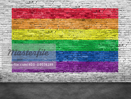 Rainbow flag painted over old white brick wall Stock Photo - Budget Royalty-Free, Image code: 400-08074199