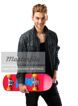 Studio portrait of a young man posing with a skateboard Stock Photo - Budget Royalty-Free, Image code: 400-08074623