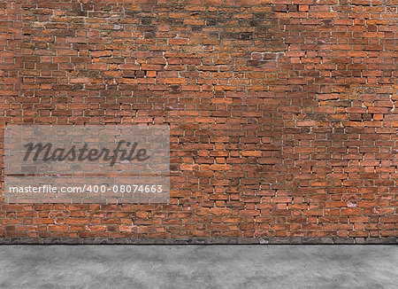 Old empty brick wall with part of foreground Stock Photo - Budget Royalty-Free, Image code: 400-08074663