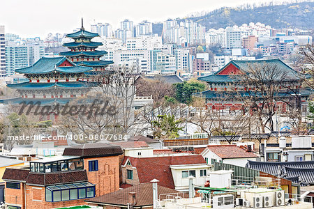 Gyeongbokgung, or the Palace of Felicitous Blessing, was the main palace of the Joseon Dynasty in korea Stock Photo - Budget Royalty-Free, Image code: 400-08077684