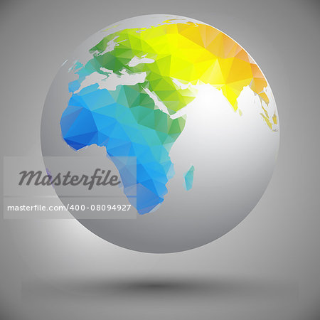 globe with silhouettes of continents in yellow, green and blue colors Stock Photo - Budget Royalty-Free, Image code: 400-08094927
