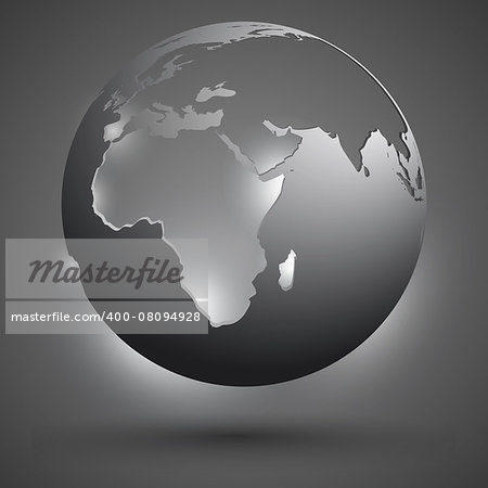 decorative globe with silhouettes of continents in the gray and white tones Stock Photo - Budget Royalty-Free, Image code: 400-08094928