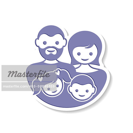 Beautiful vector family label with parents and children Stock Photo - Budget Royalty-Free, Image code: 400-08095359