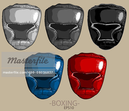 five boxing helmets of different color on a light background Stock Photo - Budget Royalty-Free, Image code: 400-08096837