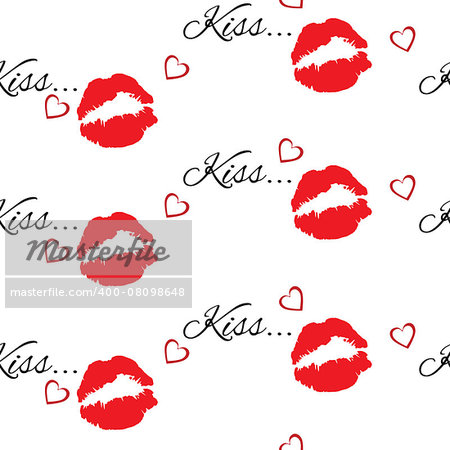 Seamless pattern with beautiful red colors lips prints on white background.