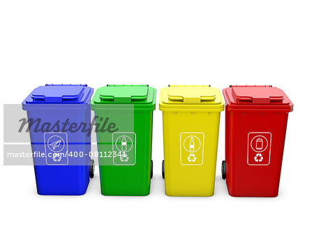 Colorful recycle bins isolated on white background Stock Photo - Budget Royalty-Free, Image code: 400-08112341