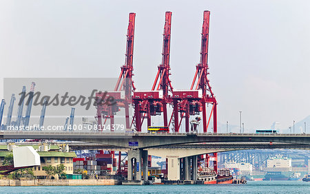 Containers at Hong Kong commercial port at day Stock Photo - Budget Royalty-Free, Image code: 400-08114379