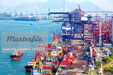 Containers at Hong Kong commercial port at day Stock Photo - Budget Royalty-Free, Image code: 400-08114381