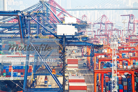 Containers at Hong Kong commercial port at day Stock Photo - Budget Royalty-Free, Image code: 400-08114382