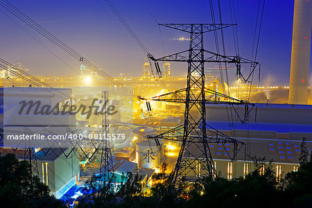 Power station with smoke at night Stock Photo - Budget Royalty-Free, Image code: 400-08115579