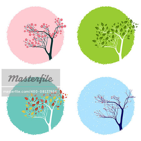 Illustration of the trre in four seasons, backgrounds set Stock Photo - Budget Royalty-Free, Image code: 400-08137656