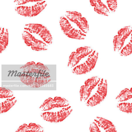 Halftone red attractive woman lips, vector illustration