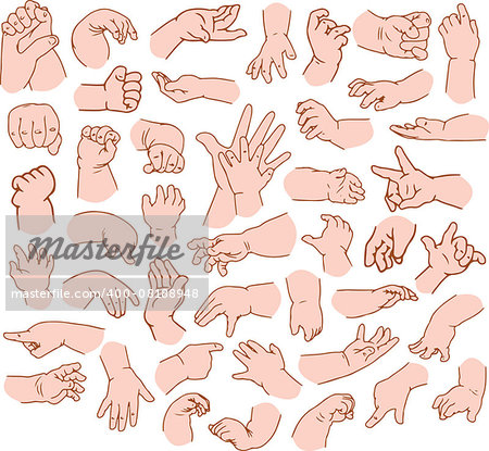 Vector illustrations pack of baby hands in various gestures. Stock Photo - Budget Royalty-Free, Image code: 400-08188948