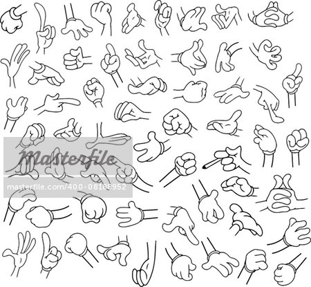 Vector illustrations lineart pack of cartoon hands in various gestures. Stock Photo - Budget Royalty-Free, Image code: 400-08188952