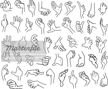 Vector illustrations lineart pack of cartoon hands in various gestures. Stock Photo - Budget Royalty-Free, Image code: 400-08188954