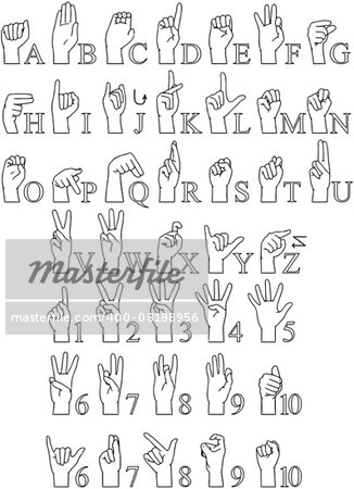 Vector illustrations pack of sign language ABC and numbers. Stock Photo - Budget Royalty-Free, Image code: 400-08188956