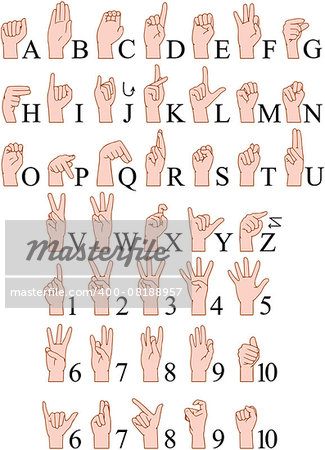 Vector illustrations pack of sign language ABC and numbers. Stock Photo - Budget Royalty-Free, Image code: 400-08188957