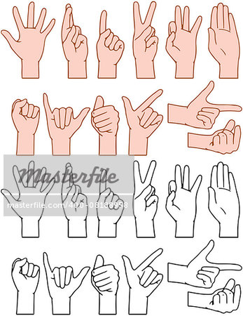 Vector illustrations pack of universal gestures of hands Stock Photo - Budget Royalty-Free, Image code: 400-08188958