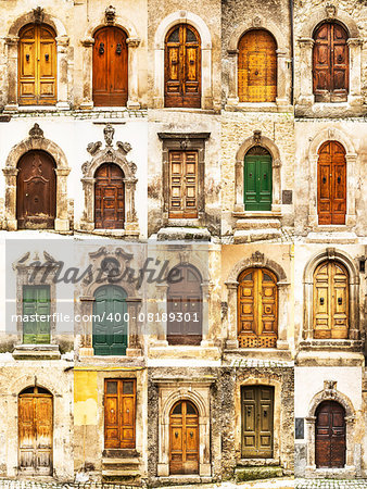group of italian old doors Stock Photo - Budget Royalty-Free, Image code: 400-08189301