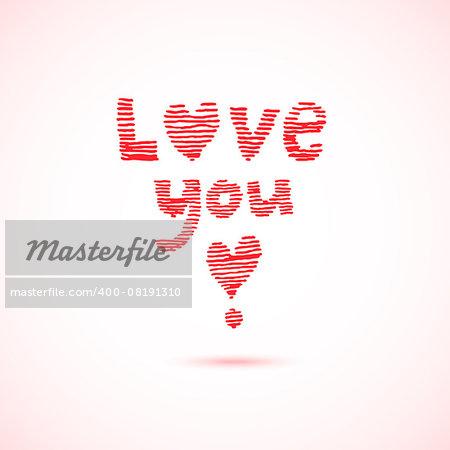 Love you lettering. Striped hand drawn design. Vector illustration.