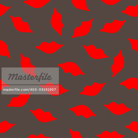 Lips seamless texture red gray colors. Vector illustration