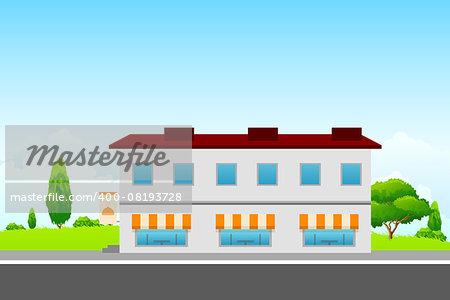 Green Landscape with cafe building and clouds Stock Photo - Budget Royalty-Free, Image code: 400-08193728