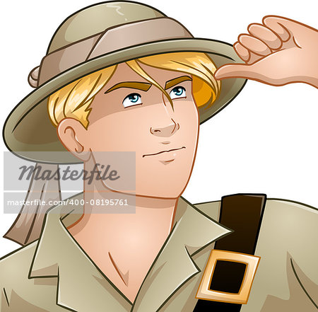 Vector illustration of a blond nature explorer looking up. Stock Photo - Budget Royalty-Free, Image code: 400-08195761