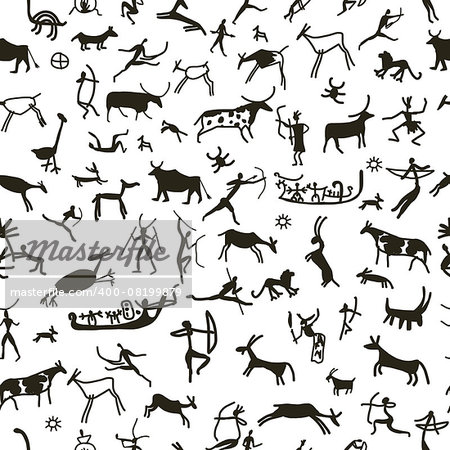 Rock paintings with ethnic people, seamless pattern, vector illustration Stock Photo - Budget Royalty-Free, Image code: 400-08199879
