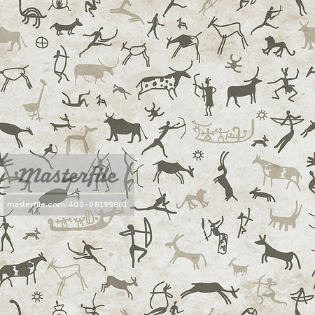 Rock paintings with ethnic people, seamless pattern, vector illustration Stock Photo - Budget Royalty-Free, Image code: 400-08199881