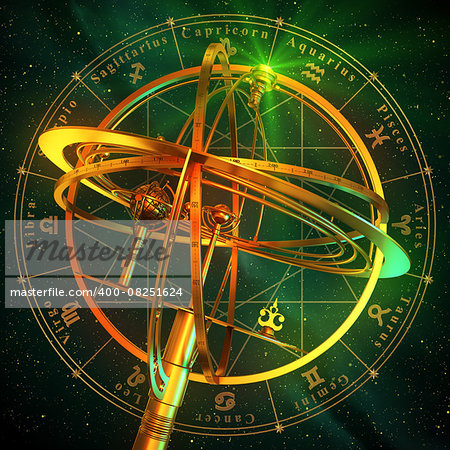 Armillary Sphere With Zodiac Symbols Over Green Background. 3D Scene. Stock Photo - Budget Royalty-Free, Image code: 400-08251624