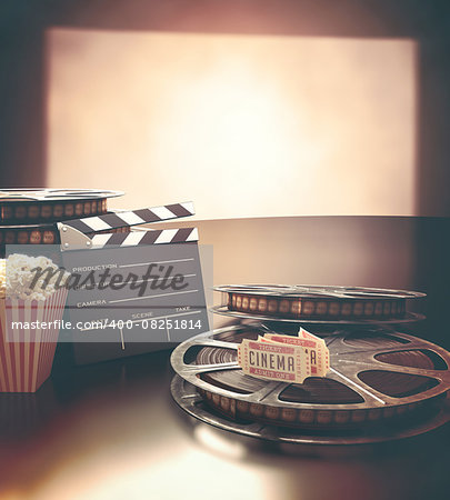 Objects related to the cinema on reflective surface. Stock Photo - Budget Royalty-Free, Image code: 400-08251814