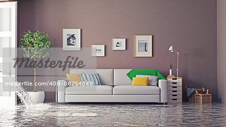 flooding in luxurious interior. 3d creative concept Stock Photo - Budget Royalty-Free, Image code: 400-08254049