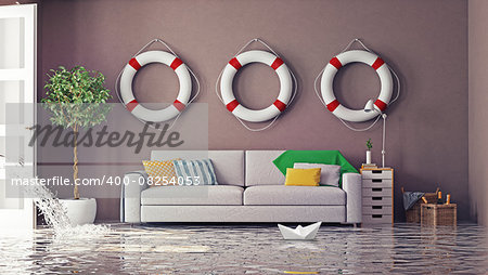 flooding in  interior. 3d creative concept Stock Photo - Budget Royalty-Free, Image code: 400-08254053
