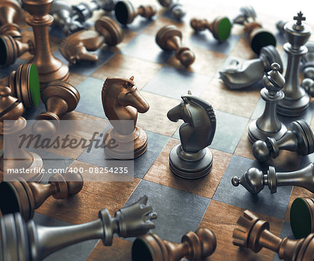 Dispute face to face in chess. Stock Photo - Budget Royalty-Free, Image code: 400-08254235