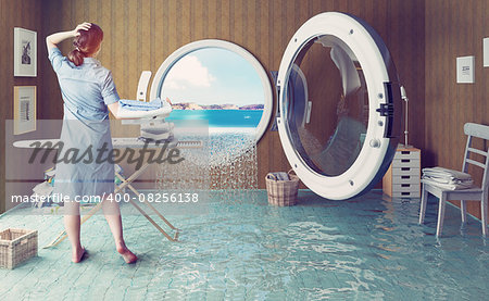 Housewife dreams. Creative concept. Photo combination Stock Photo - Budget Royalty-Free, Image code: 400-08256138