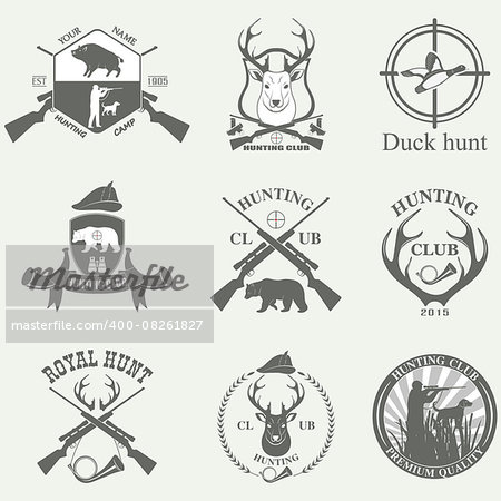 Set of vintage labels on hunting. Vector illustration Stock Photo - Budget Royalty-Free, Image code: 400-08261827