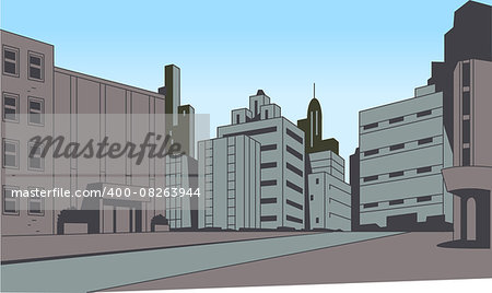 City Street Scene Background for Superhero Comics or Animation Stock Photo - Budget Royalty-Free, Image code: 400-08263944